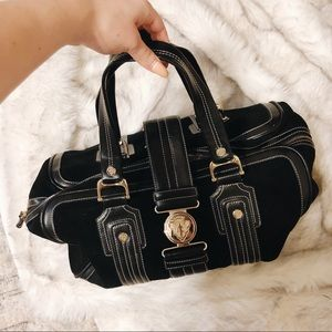 Gucci Vintage Black Leather and Suede Purse